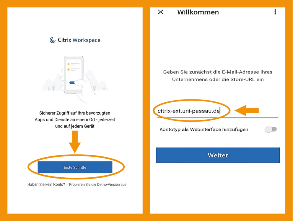 Android Citrix Workspace App Schritt 2
