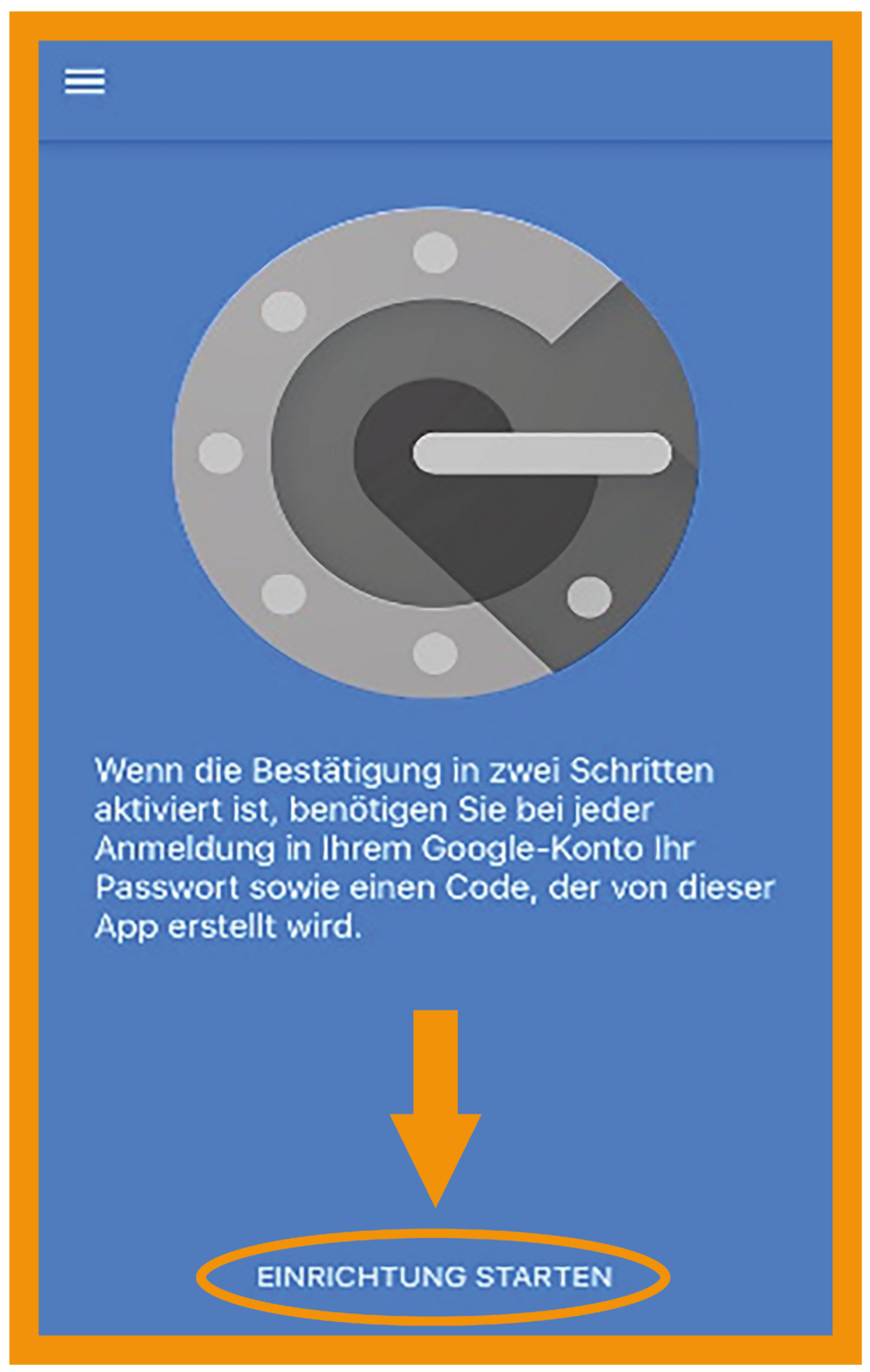 iOS Google Authenticator Schritt 2