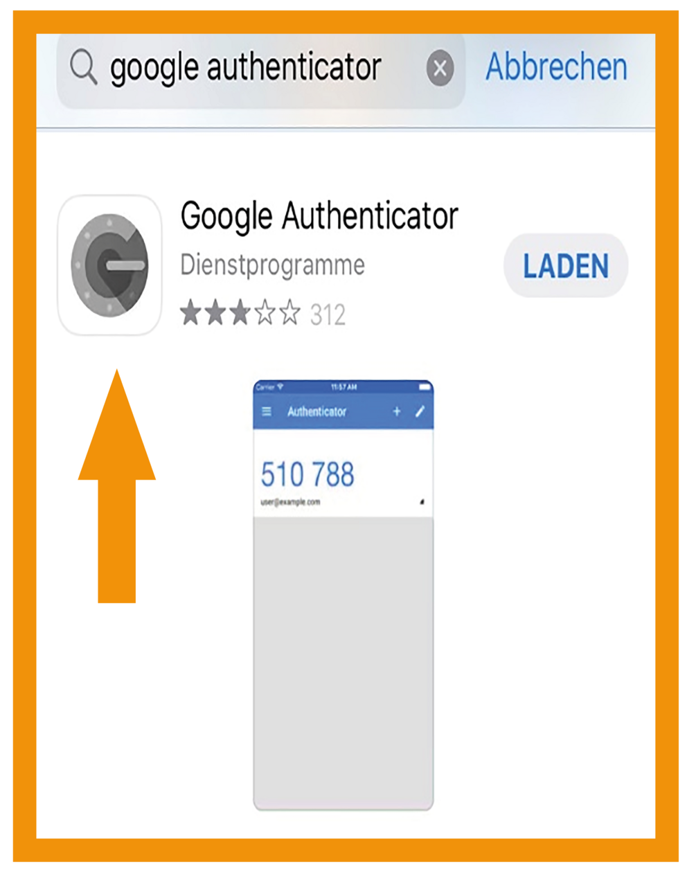 iOS Google Authenticator Schritt 1