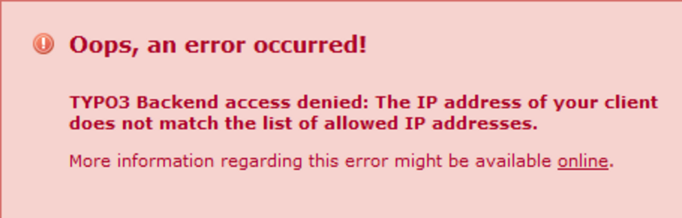 Oops an Error occurred - Typo3 Backend access denied