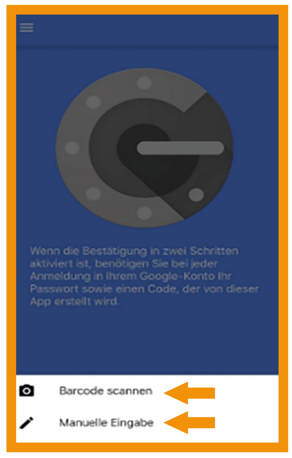 iOS Google Authenticator Schritt 3