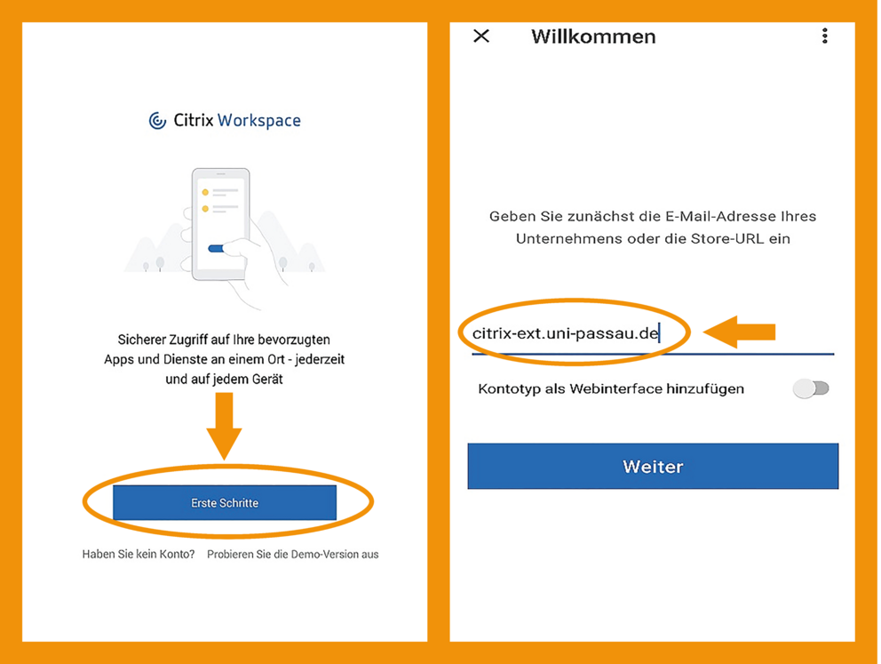 iOS Citrix Workspace App Schritt 2