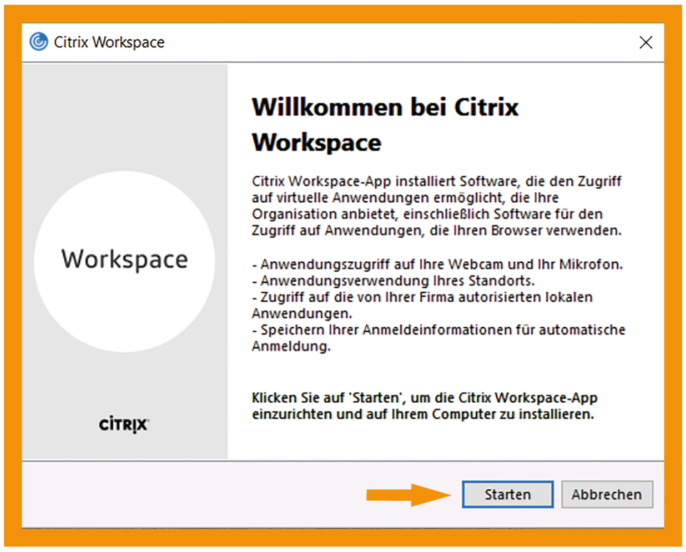 Windows Citrix Workspace App Schritt 1