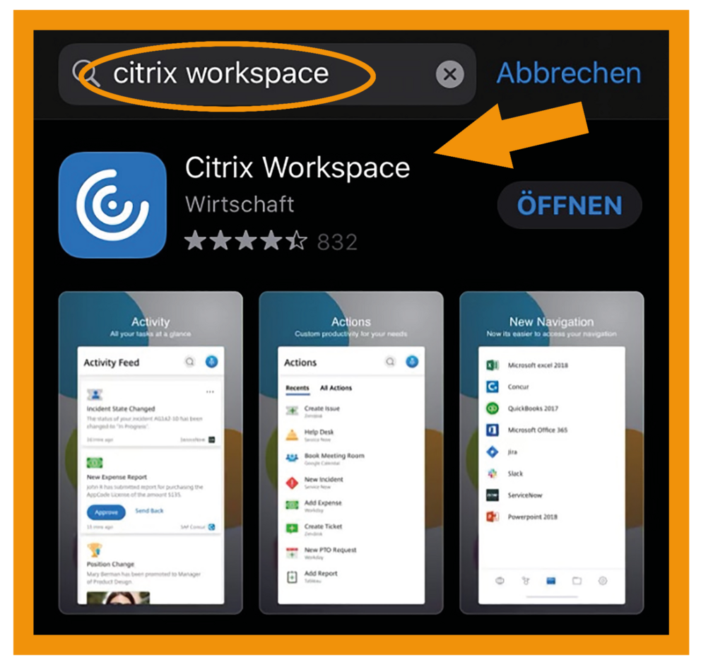 iOS Citrix Workspace App Schritt 1