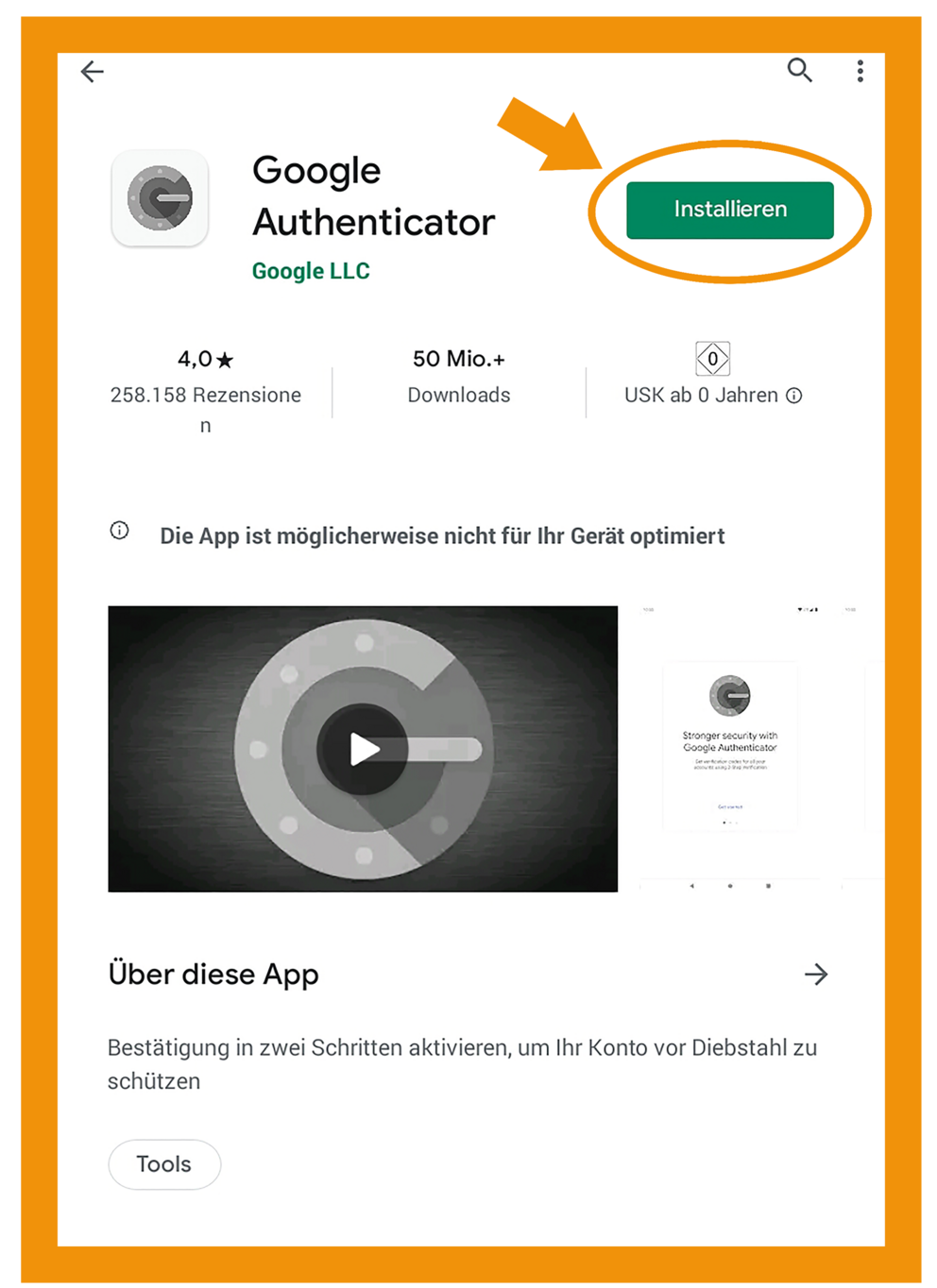 Android Google Authenticator App