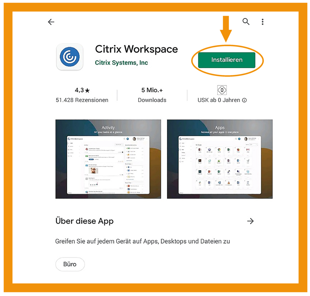 Android Citrix Workspace App Schritt 1