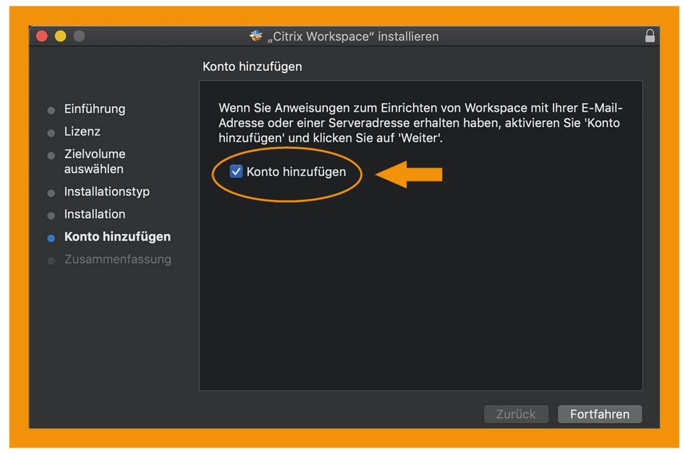MacOS Citrix Workspace App Schritt 2