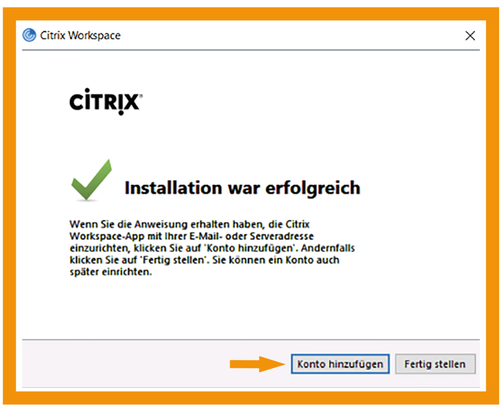 Windows Citrix Workspace App Schritt 2